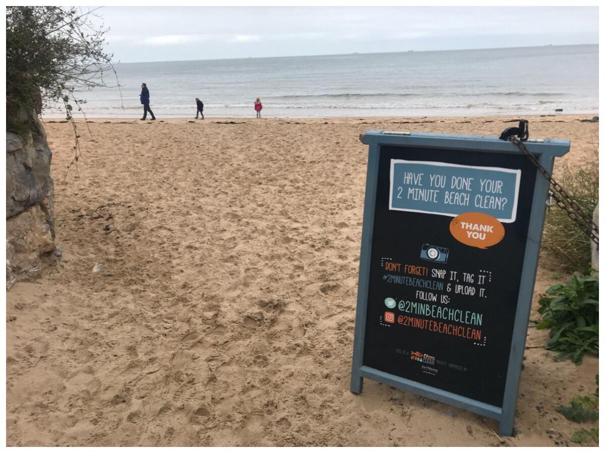 Beach cleanup sign on Benllech beach