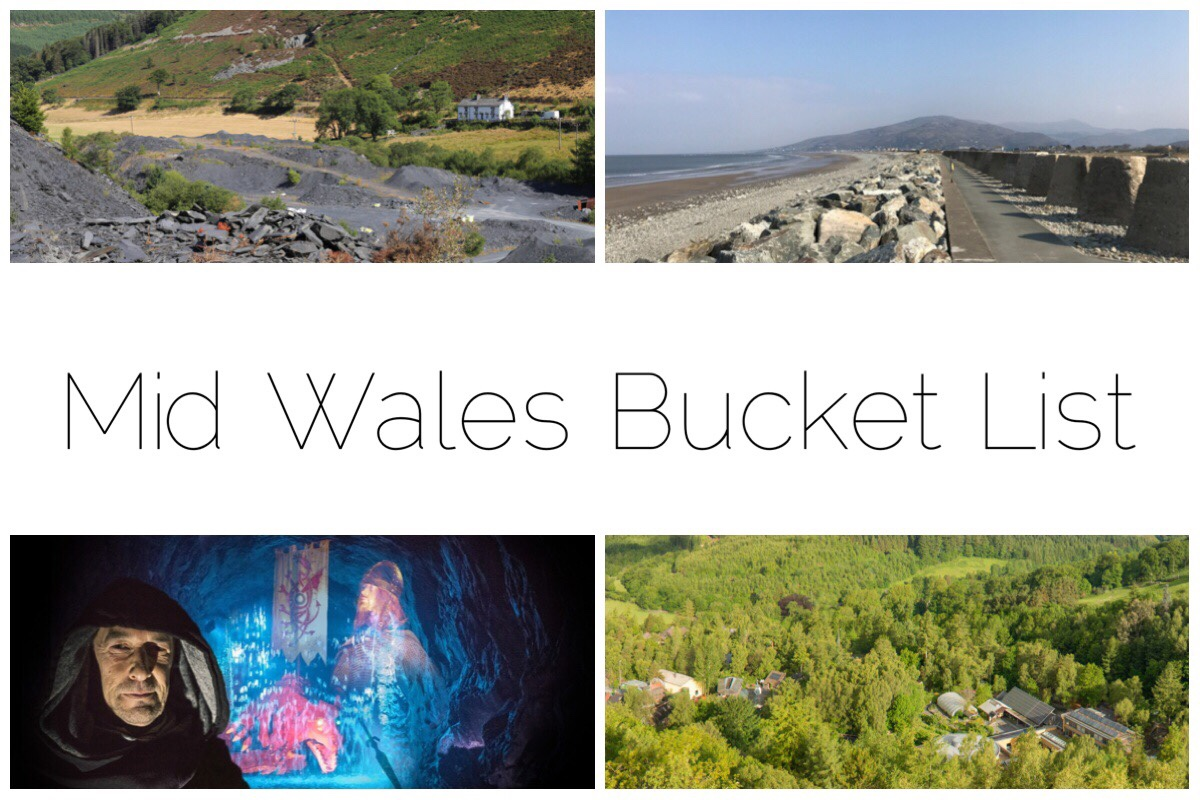 Mid Wales Bucket List including Fairbourne Beach, Aberllefenni, Aberystwyth Cliff Railway, King Arthur's Labyrinth and Centre of Alternative Technology