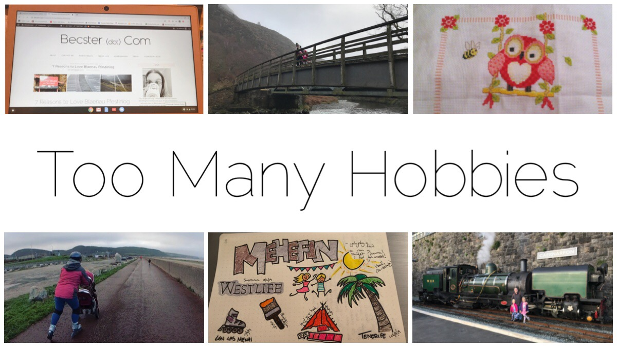 I have too many hobbies! Here are just six thumbnails of those hobbies including (top left - right) blogging, walking, cross-stitching (bottom left - right) rollerblading, bullet journalling/doodling and making videos