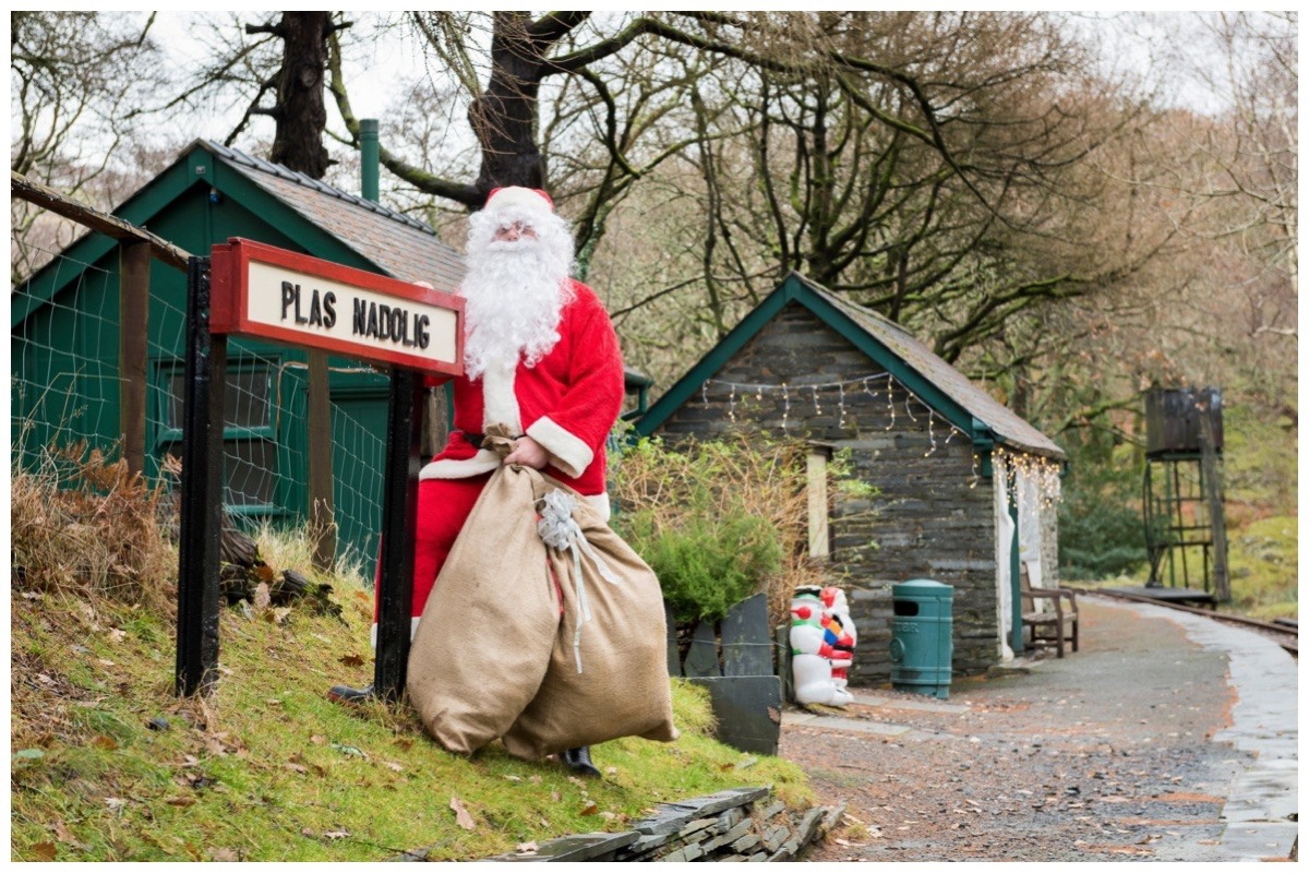 Santa stood on the platform on Talyllyn Railway
