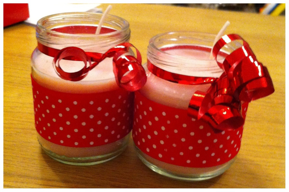 Two jars of homemade scented candles