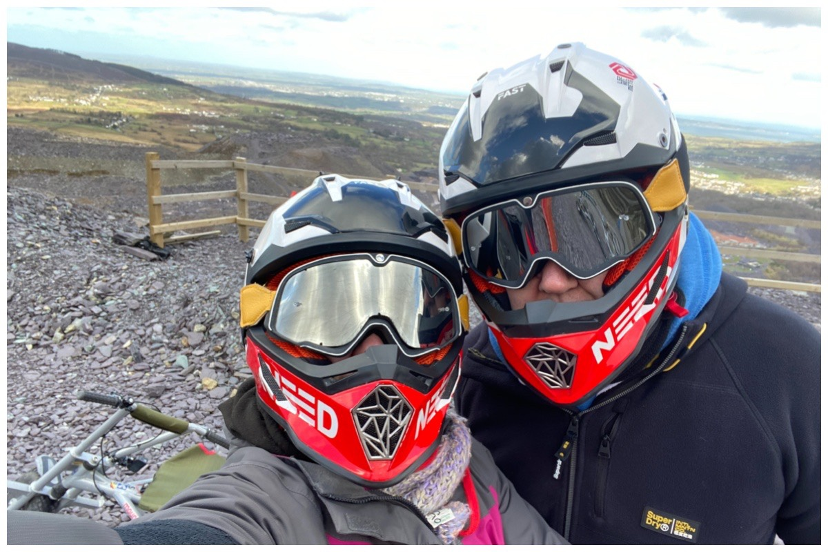 Husband and I wearing our helmets ready for Zip World's Quarry Karts