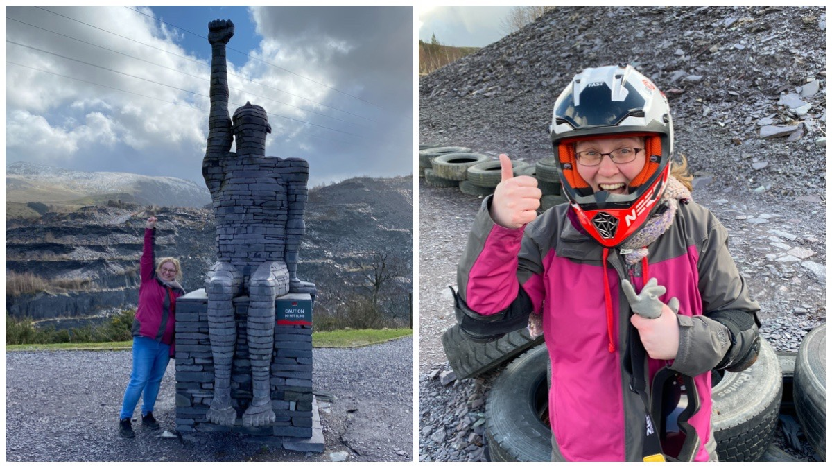 On the left is me punching the air with the Blue Slate Man (statue made of Welsh Slate) /On the right is me wearing the helmet giving a thumbs up as I finish my first run