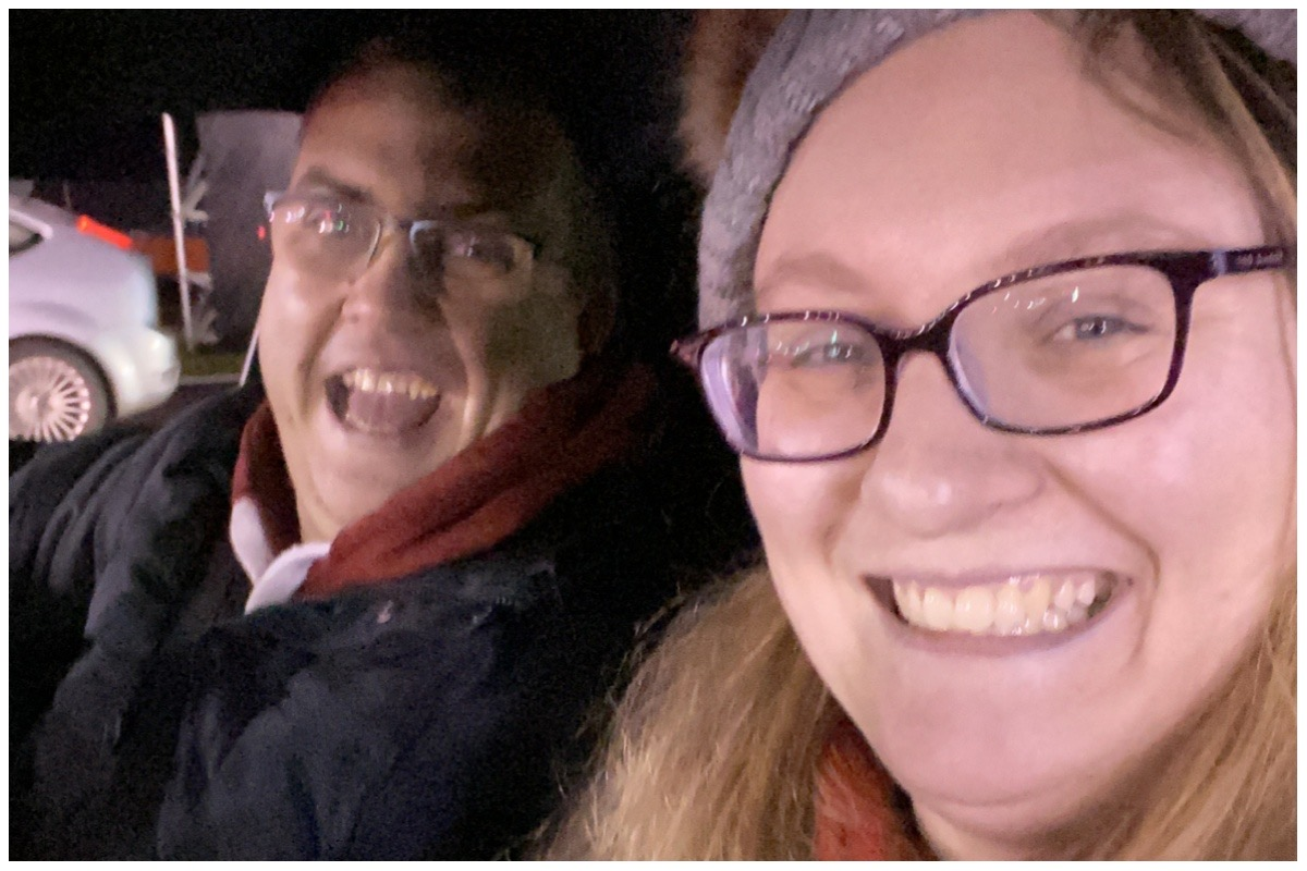 Selfie of Emyr & Rebecca with big smiles during Drive Lapland at Silverstone