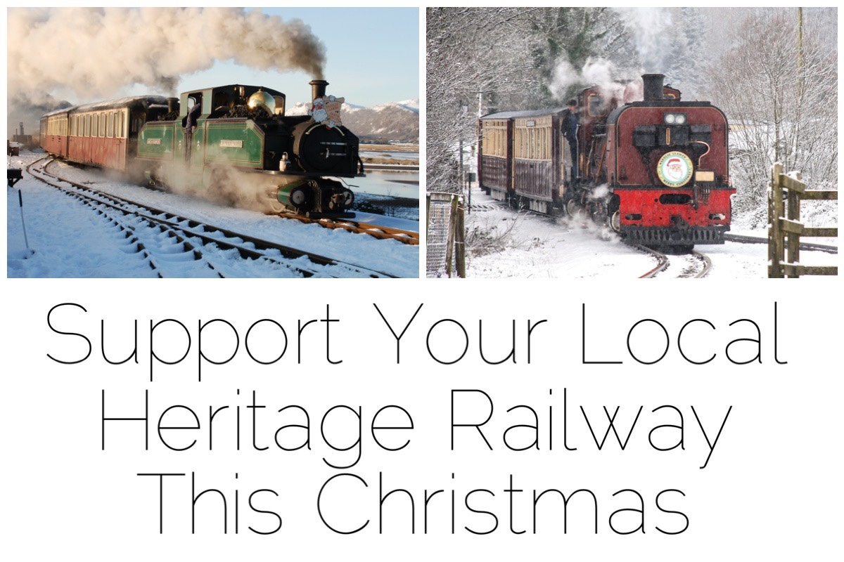 Two images of the trains FF&WHR trains in the snow