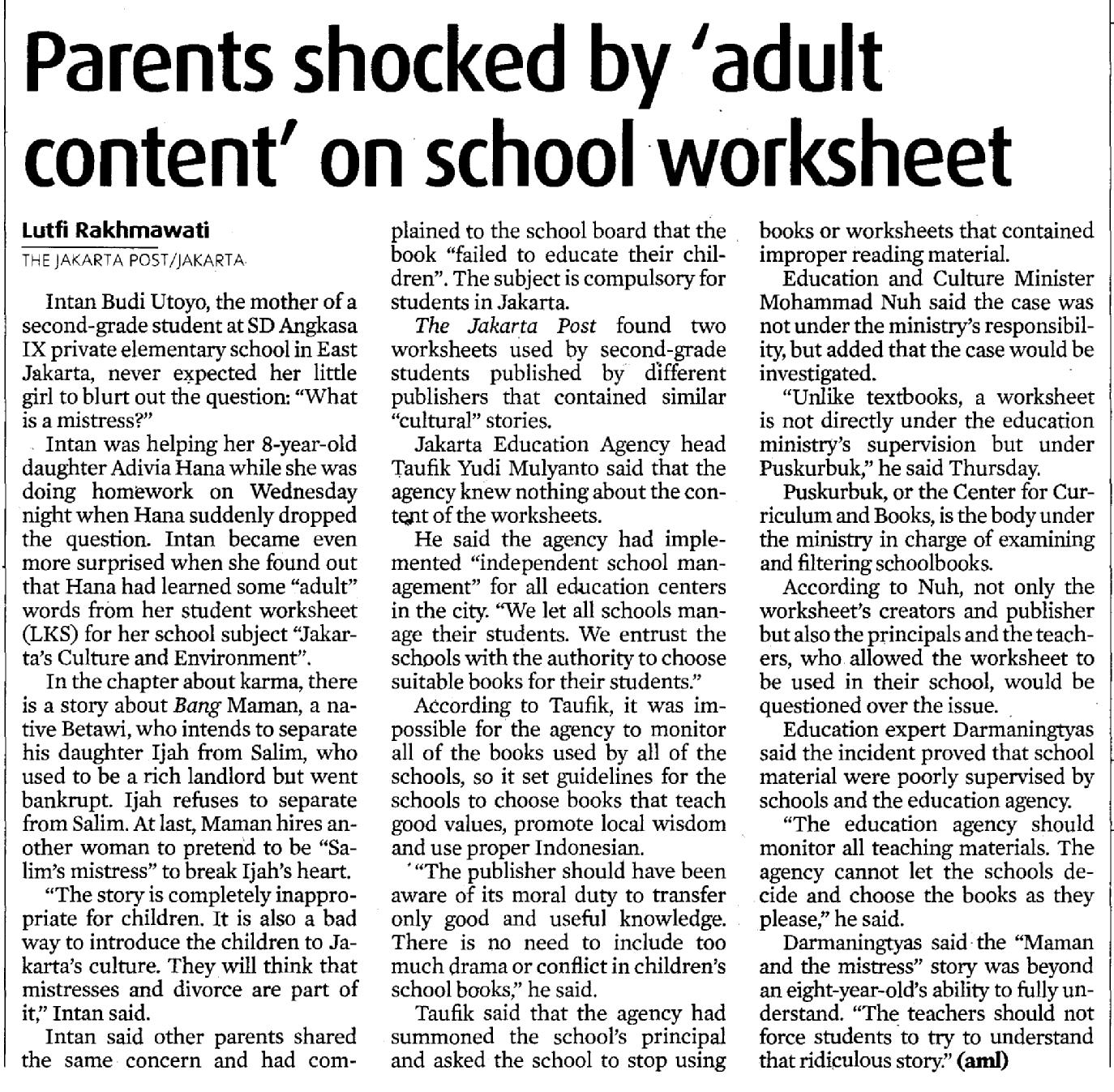 Parents Shocked By Adult Content On School Worksheet