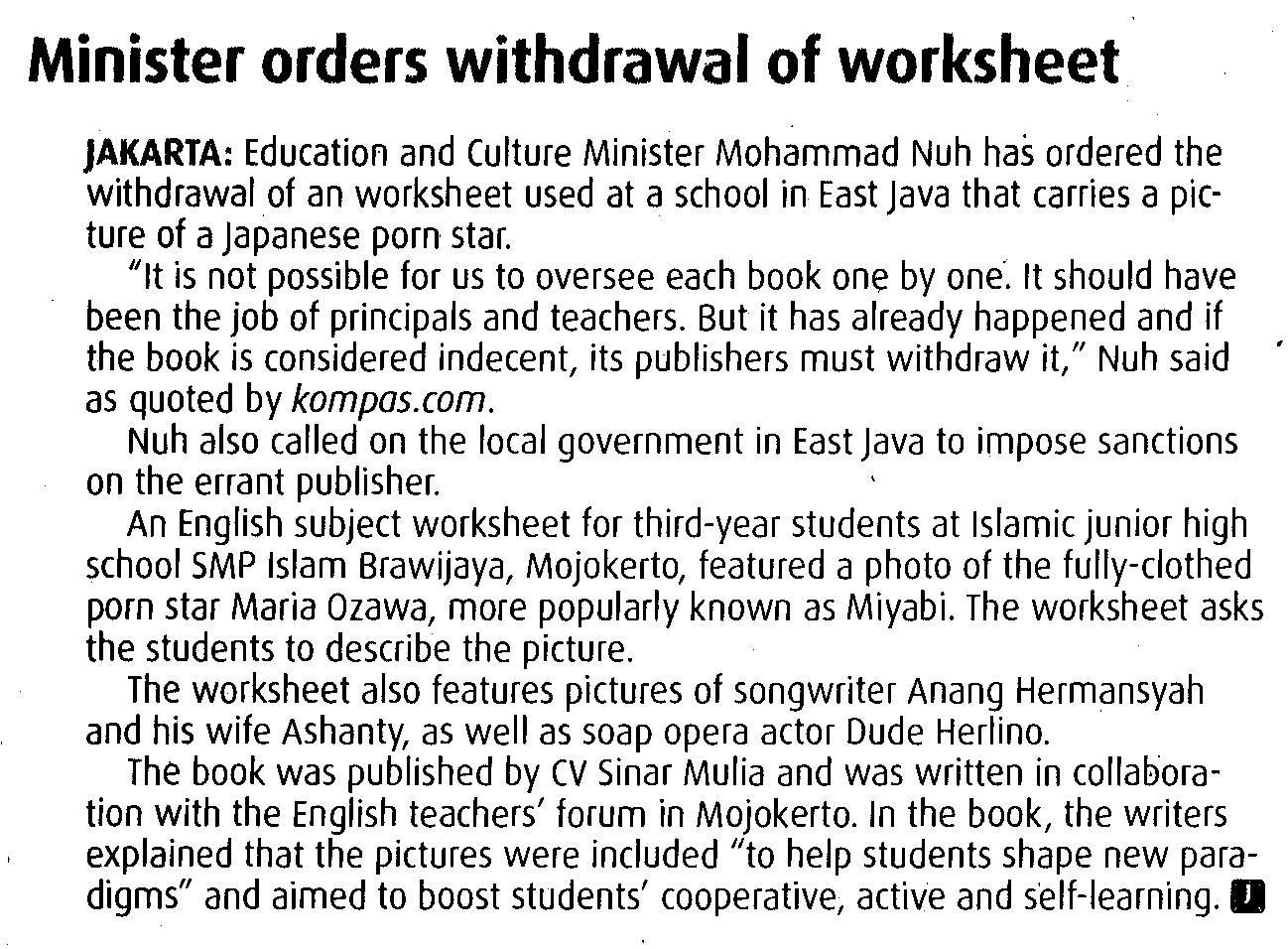 Minister Orders Withdrawal Of Worksheet