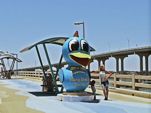 Bluebird of Happiness statue, the historic symbol of Vilano Beach