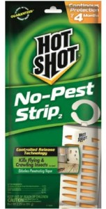 Picture of Hot Shot No Pest Strip. This can be placed inside trash bags with non fabric items to kill bed bugs.
