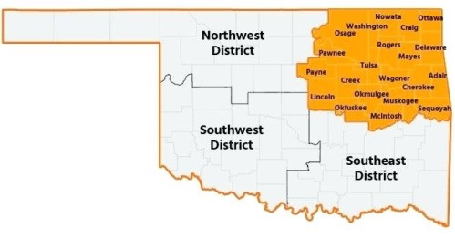 Our service area is the orange colored counties.