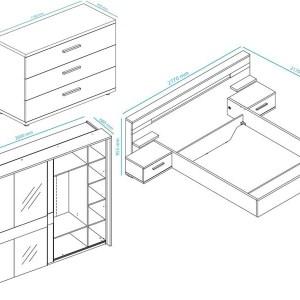 Complete slaapkamer JODY II 160x200 cm pesaro