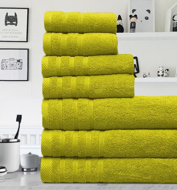 7 Pieces Egyptian Cotton Towel Set - Citrus