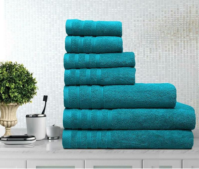 7 Pieces Egyptian Cotton Towel Set - Teal