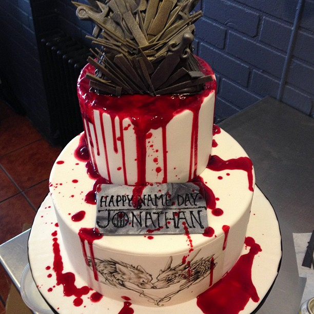Wondrous Check Out This Blood Spattered Game Of Thrones Birthday Cake Funny Birthday Cards Online Overcheapnameinfo