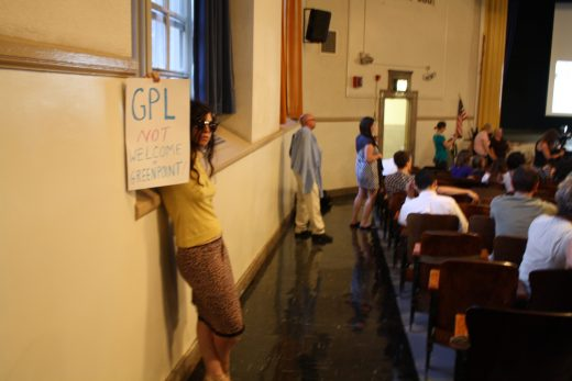 Greenpoint resident Jennifer Charles protests (Photo: Natalie Rinn)
