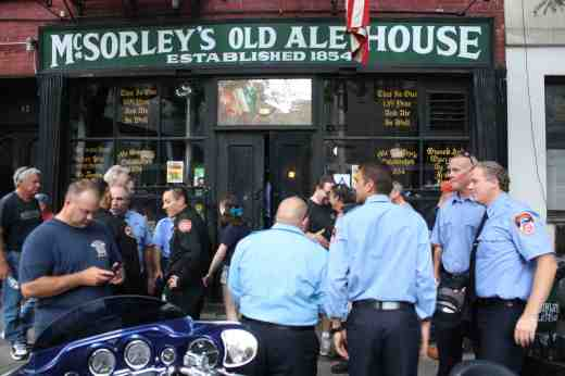 New York City firefighters outside McSorley