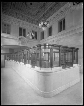 Interior of the banking floor. (Photograph by Wurts Bros. From the Collections of the Museum of the City of New York.)
