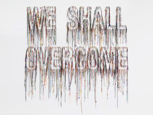 """We Shall Overcome"" by Nari Ward. Shoelaces."