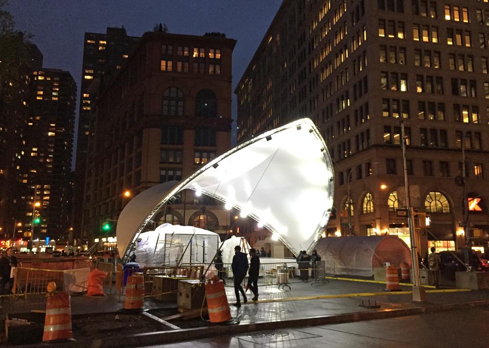 The Design Pavilion being set up. (Photo: Daniel Maurer)