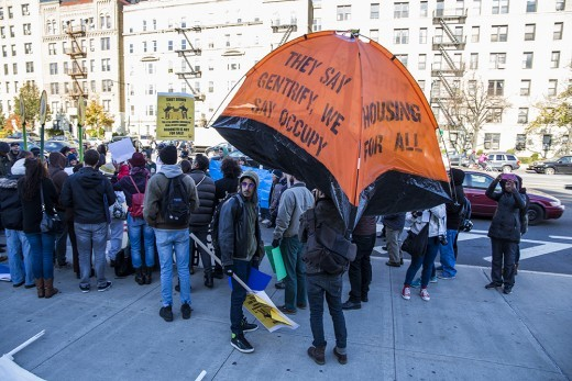 Affordable housing advocates protesting last fall (Photo: Nicole Disser)