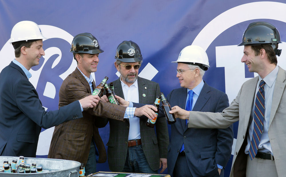 Left to right: Brooklyn Navy Yard President and CEO David Ehrenberg, Brooklyn Brewery CEO Eric Ottaway, Brooklyn Brewery Founder Steve Hindy, First Deputy Mayor Anthony Shorris and Council Member Stephen Levin.
