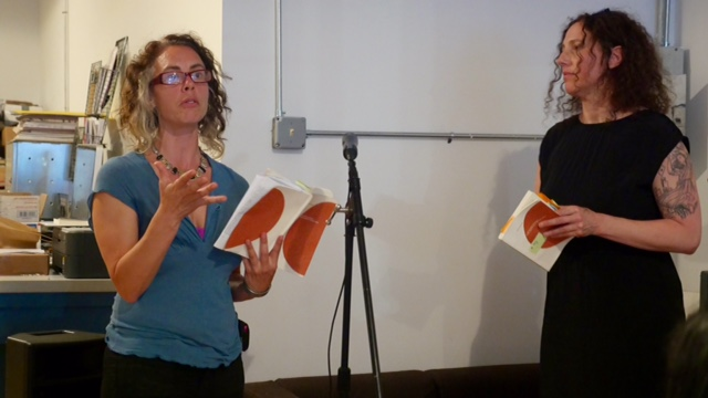 Emily Abendroth (left) and Miranda Mellis reading from The Instead.