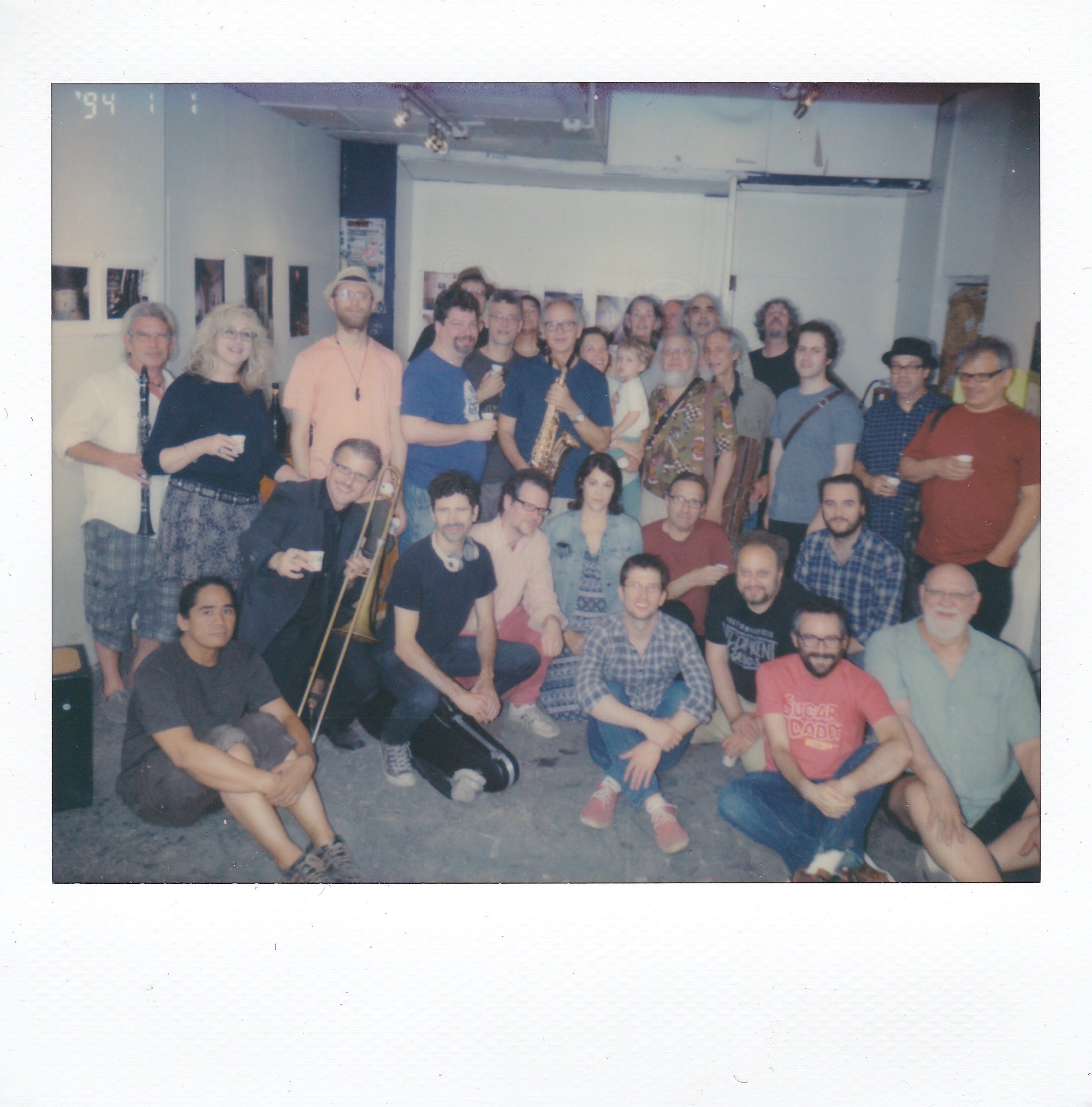 The musicians and attendees of ABC No Rio's final C.O.M.A. free Jazz concert in the original building, featuring show organizer Blaise Siwula, 6/26/16. (Photo: Nick McManus)
