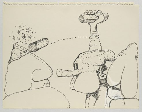 Untitled, 1971 Ink on paper 27.6 x 35.2 cm / 10 7/8 x 13 7/8 in © The Estate of Philip Guston Courtesy Hauser & Wirth