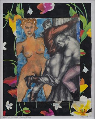 Anita Steckel, Anita of New York Meets Tom of Finland, 2005, Mixed media on book pages. Courtesy Estate of Anita Steckel and the Suzanne Geiss Company, New York.