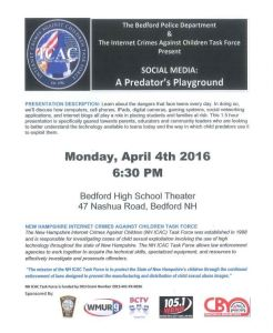 "Bedford Police to Host ""Social Media: A Predator's Playground"" Event"