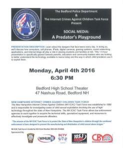 "Bedford Police to Host ""Social Media: A Predator's Playground"" Event"