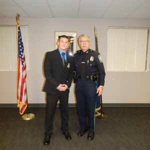 Norman Frink, 31, was sworn in on Tuesday, April 25. He recently started with 173rd Academy Class of the New Hampshire Police Standards and Training Council. He is pictured with Chief Bryfonski, right. (Courtesy Photo)