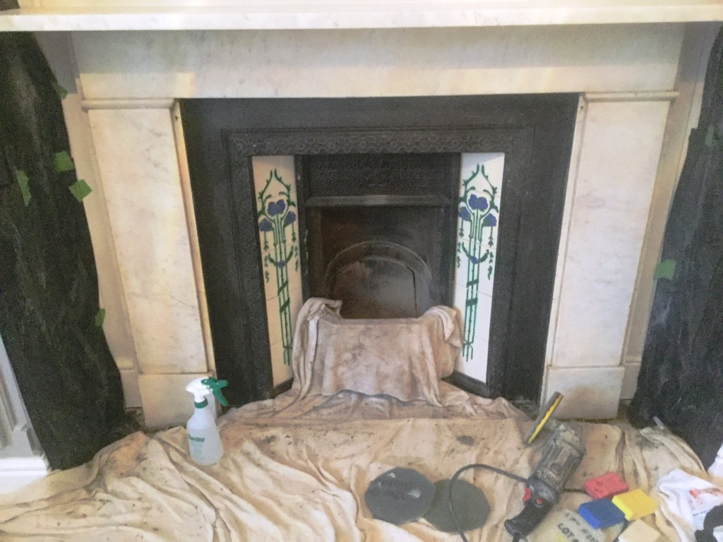 Marble Fireplace During Cleaning Bedford
