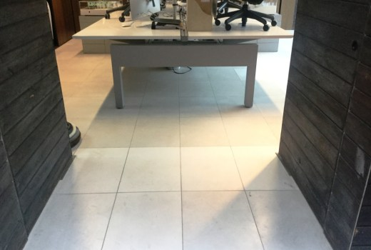Polished Limestone Office Floor Before Refinishing in Maulden
