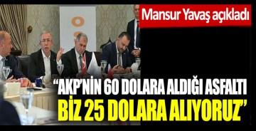 Mansur Yavaş açıkladı: AKP'nin 60 dolara aldığı asfaltı biz 25 dolara alıyoruz