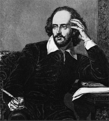 Poster for a Bedlam Drama class: A Drawing of William Shakespeare at a writting desk