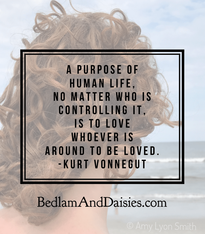 A purpose of human life, no matter who is controlling it, is to love whoever is around to be loved. -Kurt Vonnegut