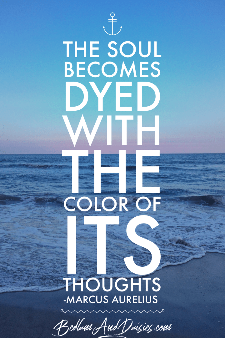 The soul becomes dyed with the color of its thoughts - Marcus Aurelius