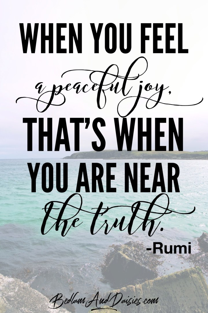 When you feel a peaceful joy, that's when you are near the truth. - Rumi