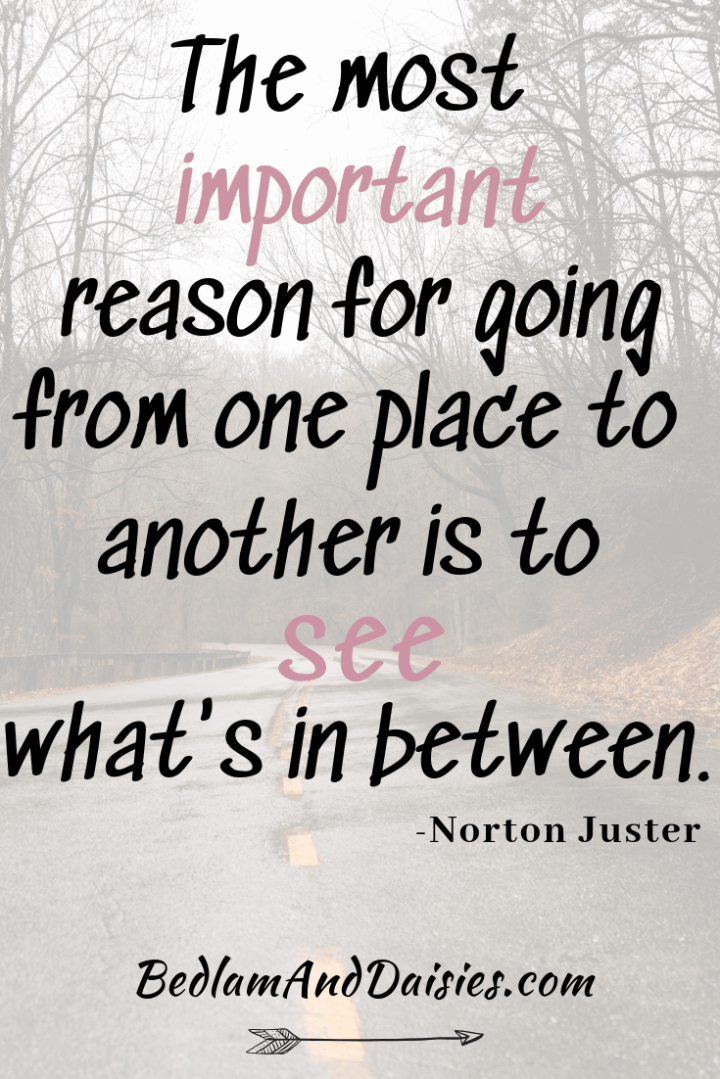 The most important reason for going from one place to another is see what's in between. - Norton Juster