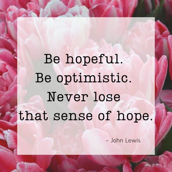 Be hopeful. Be optimistic. Never lose that sense of hope. - John Lewis
