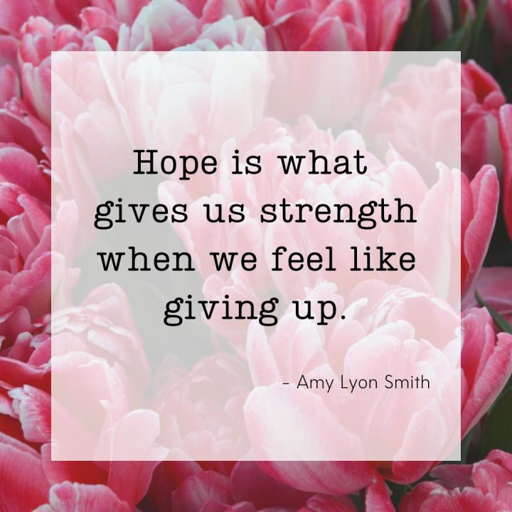 Hope is what gives us strength when we feel like giving up. -Amy Lyon Smith