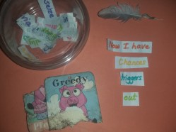 another draw, used pieces away to tub left open - the word sieze shown on top reminded me of yesterday's found object brought in by my dog so I included it in the snap...