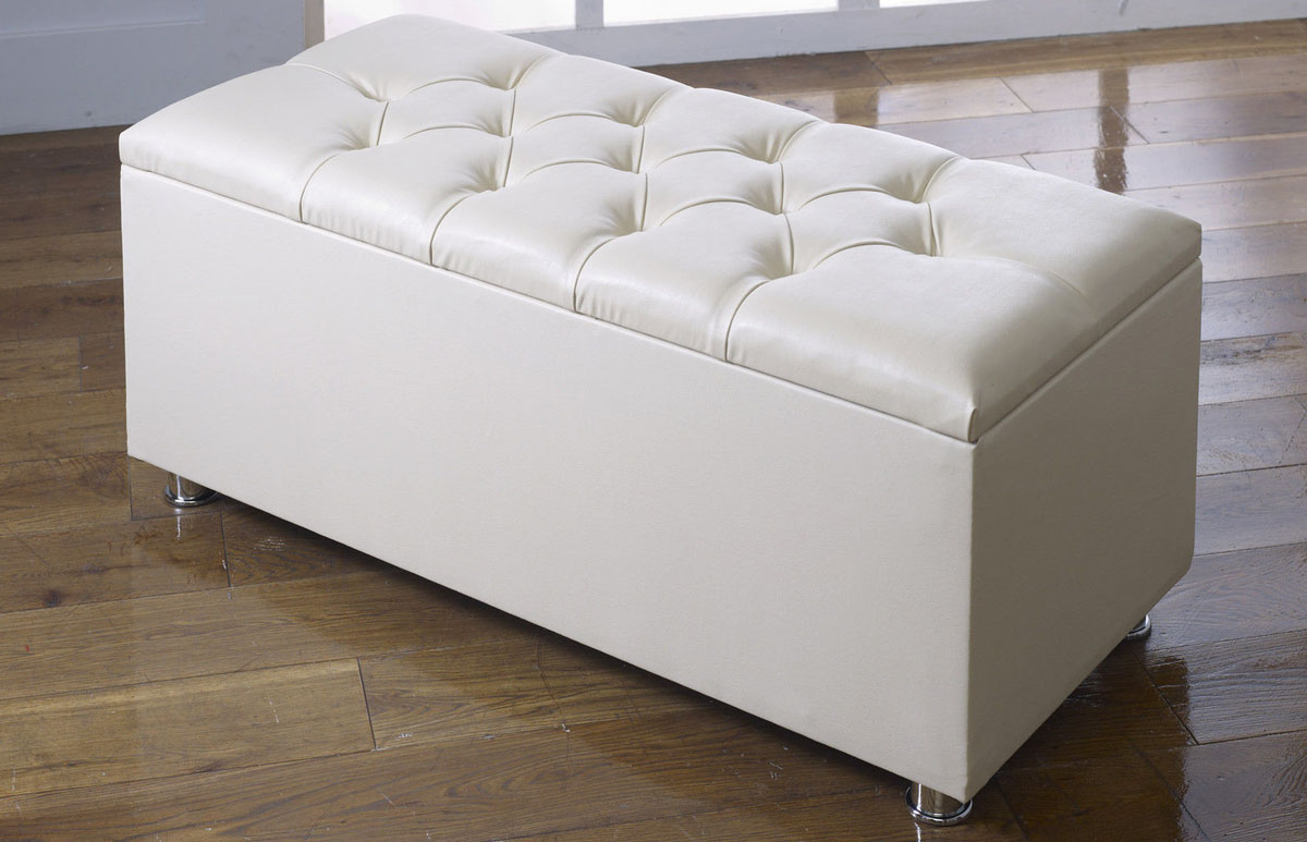 Leather And Fabric Ottoman