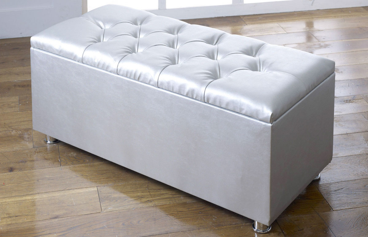 ottoman storage blanket box in faux leather