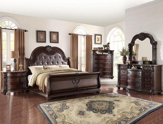 leather upholstered bedroom set