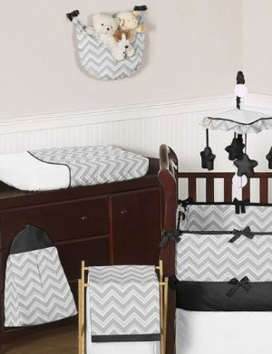 Sweet Jojo Designs Gray Black Chevron Zig Zag Crib Bedding
