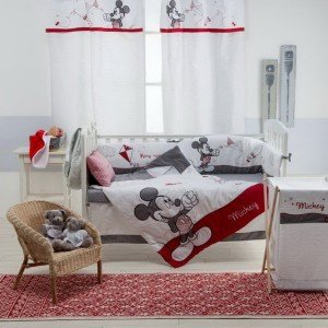 Mickey Mouse Nursery - Gray Mickey Crib Bedding