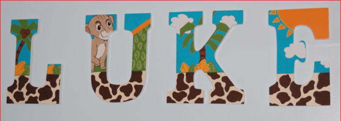 Lion King Hand Painted Nursery Letters