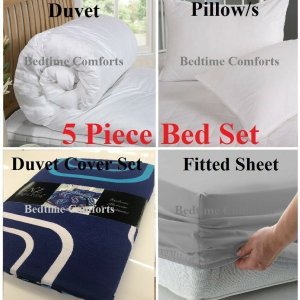 3' Single Blue 5 Pce Bed In A Bag (duvet, pillow, duvet cover, pillowcase & fitted Sheet)
